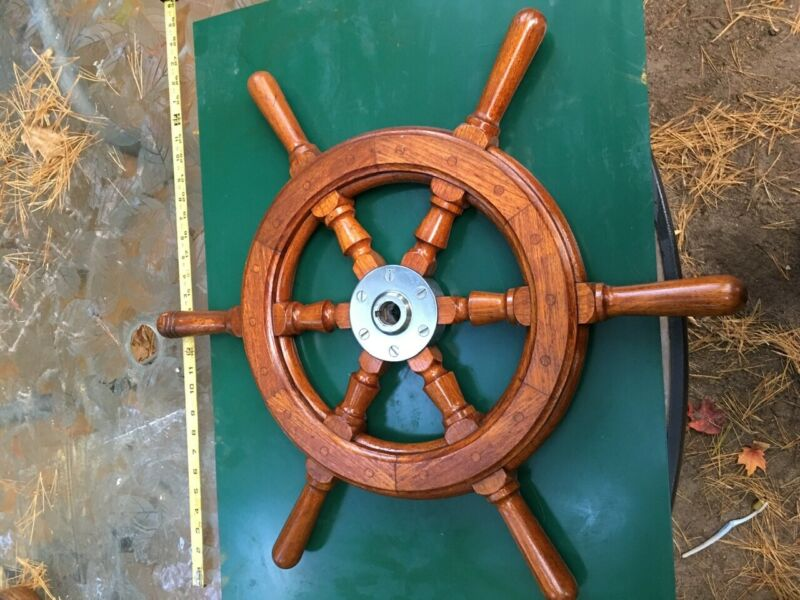 Teak Handmade Grand Banks Ships wheel - antique GB32 Original