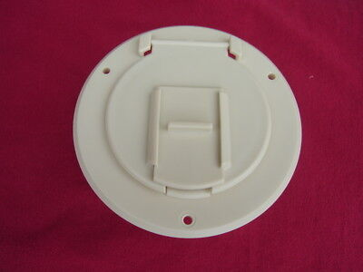 Electric Cable Hatch - POWER CORD CABLE HATCH camper round RV trailer electric Colonial white