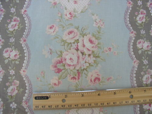 Yuwa Gorgeous Pink Roses on Aqua Cotton Moire Cartouches, Ribbons and Bows BTY