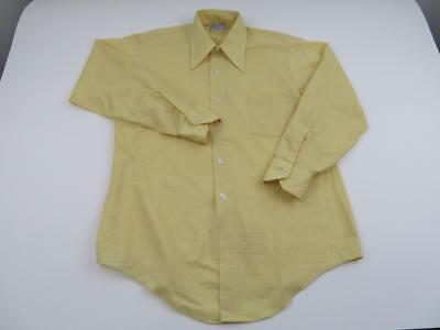 Vintage 70s Van Heusen Mens Yellow Geometric Shirt Sz Medium 15/32 Long Sleeve for sale  Shipping to India