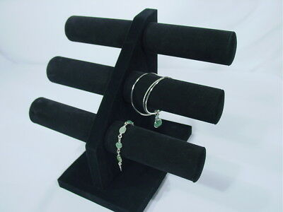 12h Black Velvet Jewelry Display 3 T Bar Bracelet Bangle Watch Necklace Pj65b1