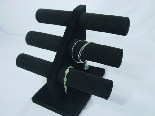 "12""H BLACK VELVET JEWELRY DISPLAY 3 T BAR BRACELET BANGLE WATCH NECKLACE PJ65B1"