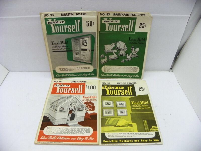 4 VINTAGE EASI - BILD BUILD IT YOURSELF INSTRUCTIONS Lot of 4 Bulletin Board