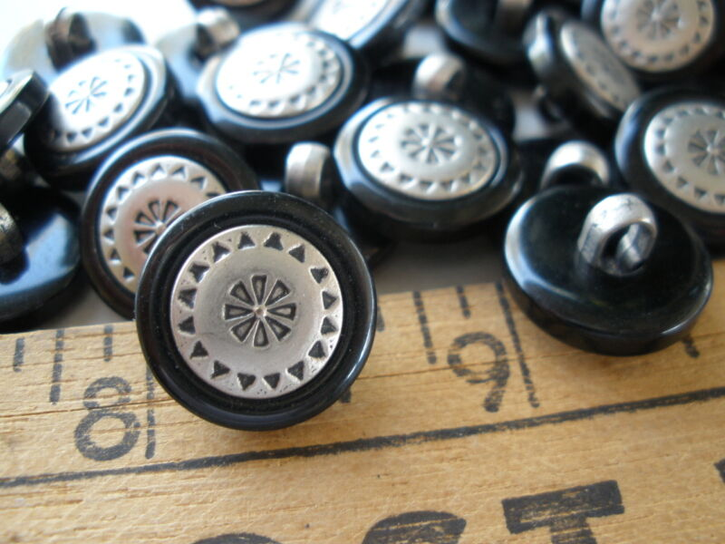 """18pc Pewter color shank buttons black jacket 24L 5/8"""" steampunk embossed flower"""
