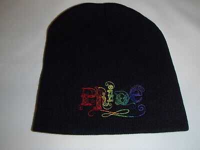 Rainbow Pride Embroidered on Black Knit Beanie Hat - Rainbow Beanie