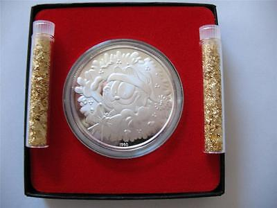 1-OZ.999 SILVER CHRISTMAS GARFIELD PAWS ENGRAVABLE1990 COIN  GIFT BOX+GOLD