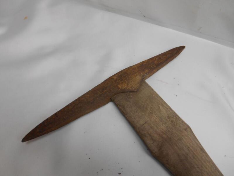 Antique GOLD PROSPECTORS PICK Coal Miners Pic Tool Cast Iron Wood Handle Decor