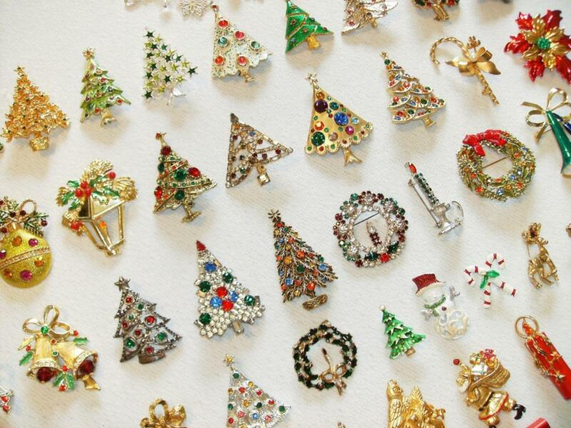 Vintage Rhinestone Christmas Brooch Pins ~Trees~Bells~Ornaments+More~some Signed