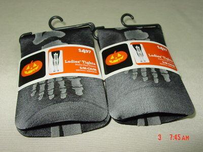 NWT 2 pairs Women's Ladies Footed Tights Halloween Garb Black Skeleton Leg - Skeleton Tights
