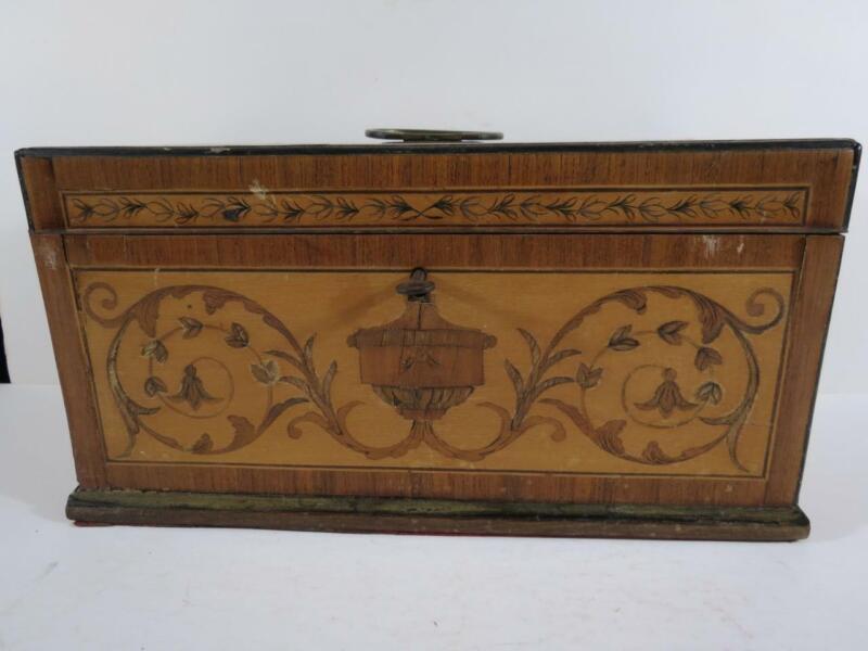 Early 20th Century English Inlaid Satinwood Rectangular Tea Caddy