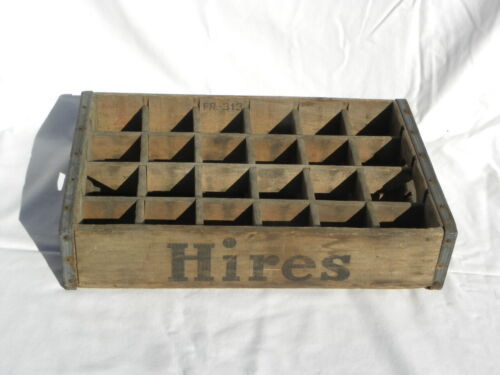 Vtg Hires Root Beer 24 Bottle Slots Wooden Crate Metal Bands Treen Box Co Phila.