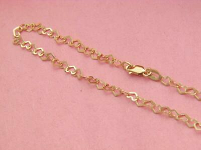 Solid 14K Yellow Gold 3MM HEART Chain Necklace REAL 14kt gold Necklace