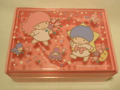 Vintage Sanrio Little Twin Stars Plastic Trinket Jewelry Box 1988 *As-Is*