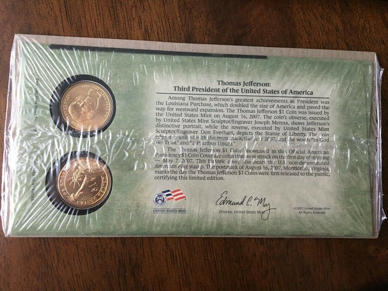 BNIP UNITED STATES MINT FIRST DAY COVER 2007 THOMAS JEFFERSON DOLLAR COIN SET - $15.00
