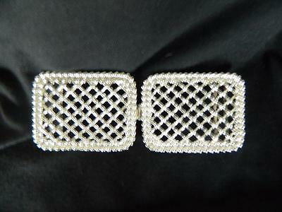 Vintage Rhinestone Silver Toned Belt Buckle Sweater Bling Clasp Womans Craft NOS