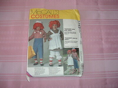 Raggedy Ann & Andy McCALL'S COSTUMES PATTERN #7743 Adults S,M,L - Children 2-12](Childrens Holloween Costumes)