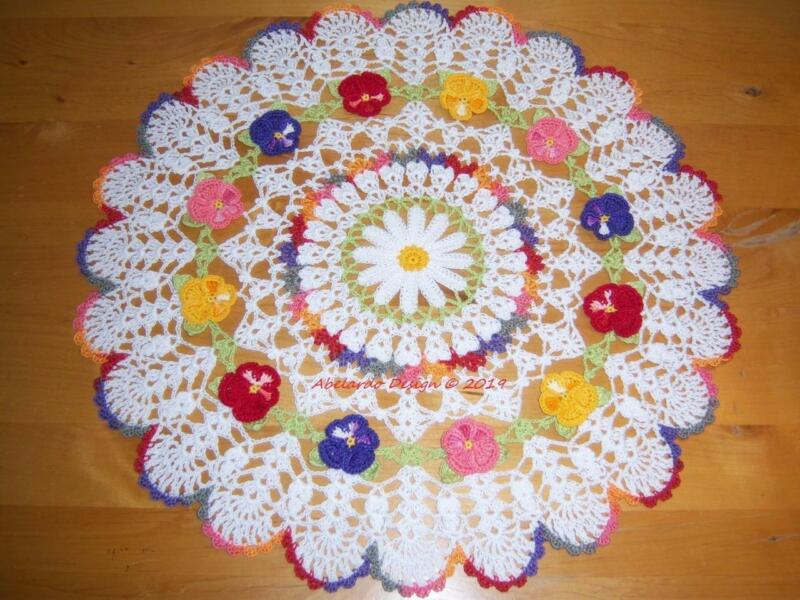 NEW CROCHETED DAISY & FALL PANSIES DOILY
