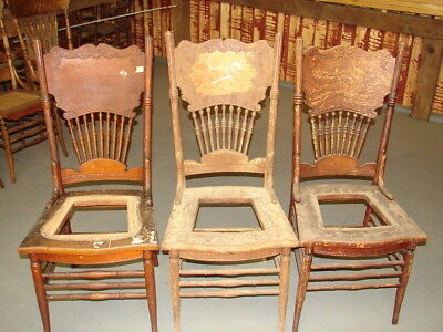 (3 Antique Pressed Back Chairs w/ Wide Backs - Hole Cane Old Finish Restoration  )