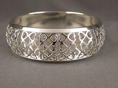 Silver bangle bracelet cut out heart design pattern 7/8