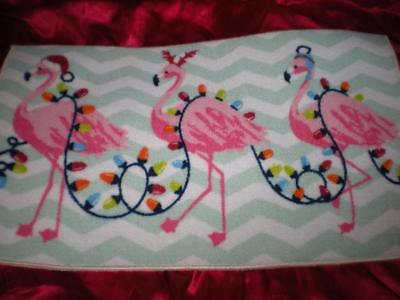 TROPICAL CHRISTMAS LIGHTS PINK FLAMINGOS DECKED OUT IN CHRISTMAS HATS NYLON MAT