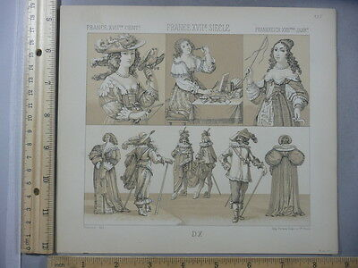 Rare Antique Orig VTG 17th Century France Fashion Firmin Didot Litho Art Print