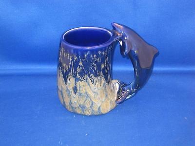 Cobalt Ceramic Mug - Ronnie's Ceramic Co. Cobalt Blue Coffee Mug Figural Dolphin Handle Hand Painted