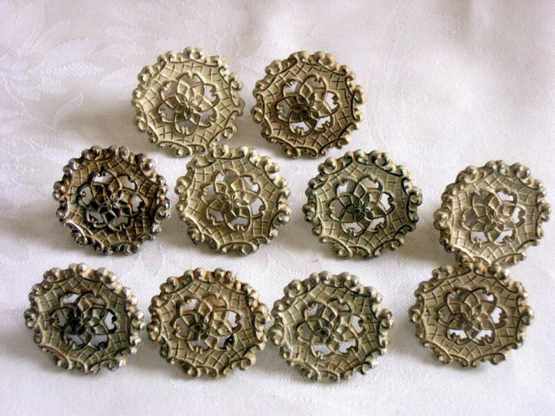 "Lot of 10 Vtg ALLISON Drawer Cabinet Pulls Round White + Gold Knobs 1-1/4"" Japan"