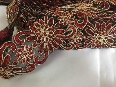 RED 3D Fancy Sequin Lace Trim Bridal Wedding Ribbon Craft NET Border 1yd x 5.5cm Fancy Lace Trim