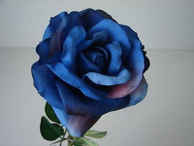 "1 Karton mit 12 Rosen Rose ""Chantal"" blau 60 cm H. Andreas Kunstblumen neu OVP!!"