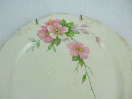 Vintage 9.25 Wall Plate Porcelain Cottage Pink Wild Roses Scalloped With Hanger - $14.99