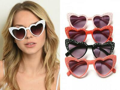HEART SHAPED MIRROR WOMENS SUNGLASSES CAT EYE PINUP BLACK WHITE CORAL PINK RED (Heart Shaped Mirror)