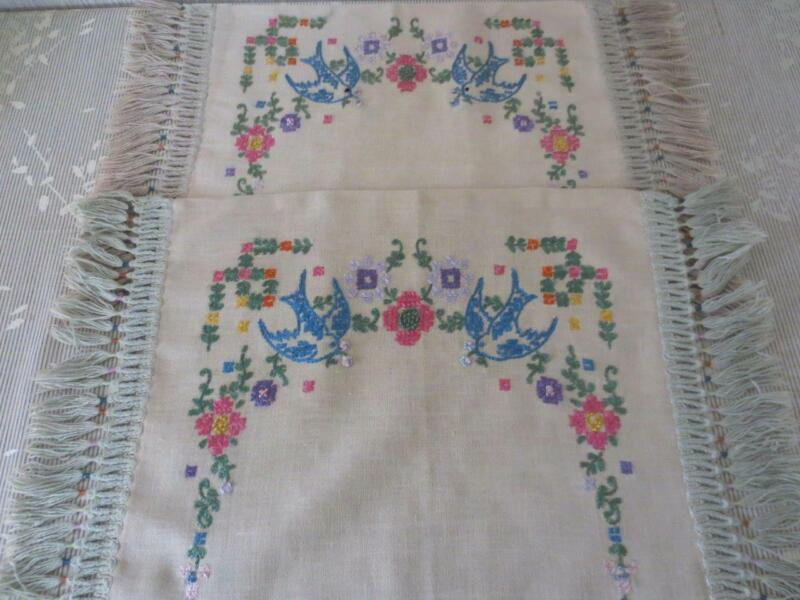 2 Antique Natural Linen Embroidered Fringed Pillow Covers