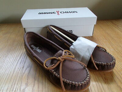 - Minnetonka Moccasins Ladies Boat Moc in Chocolate Leather