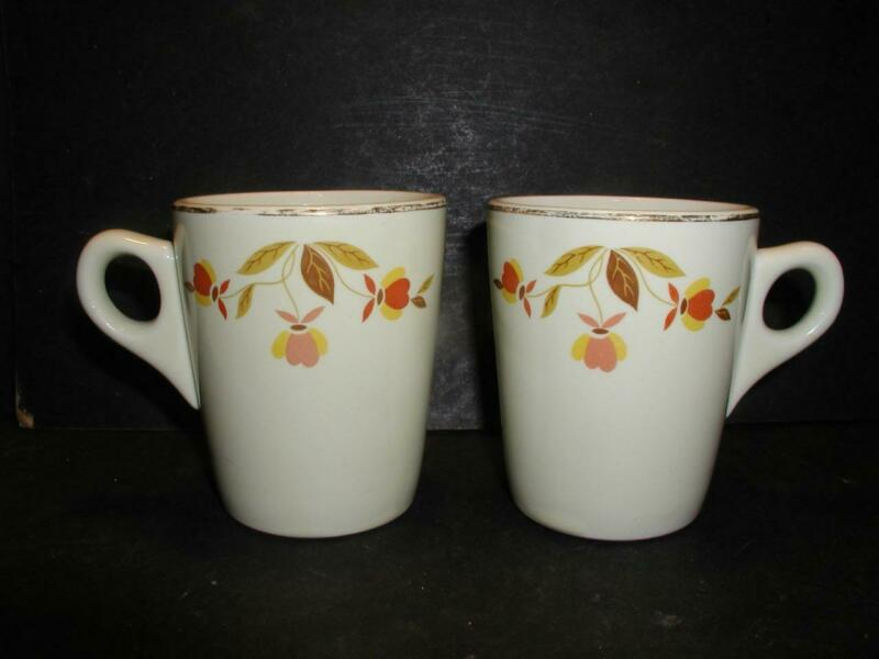 VINTAGE HALL CHINA JEWEL TEA AUTUMN LEAF PATTERN CONIC MUG