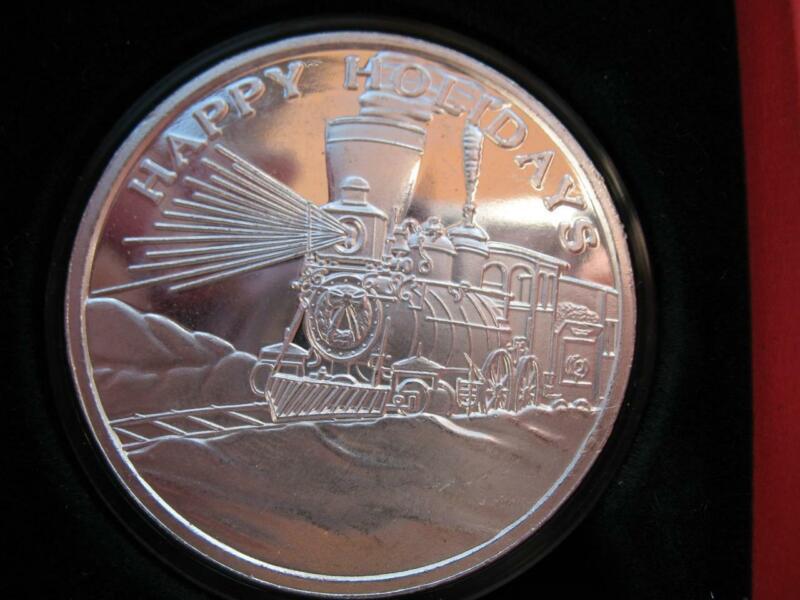 1-OZ.999 SILVER 2005 TRAIN CHRISTMAS EXPRESS RARE SILVERTOWNE  BOX COIN+GOLD