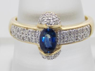 LADIES 14K GOLD DIAMOND & OVAL NATURAL SAPPHIRE TENSION SET RING 10mm SIZE 6.5