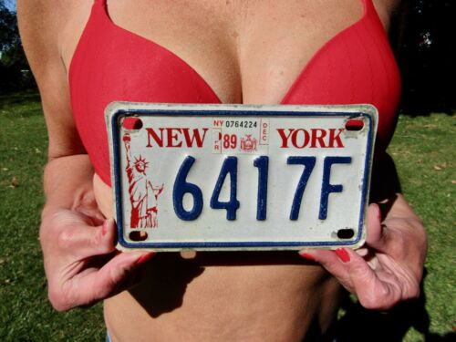 Vintage New York City (NYS) LIBERTY 1989 MOTORCYCLE License Plate # 6417F, NICE!