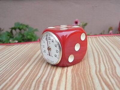 Marmorierter Bakelit Design Würfel Blavia Thermometer Modele Depose Cherry Red