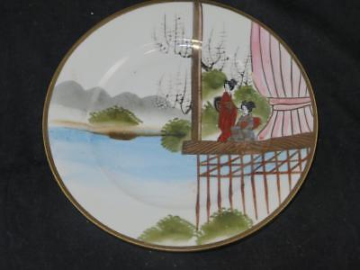 Japanese Eggshell Porcelain Side Plate Hand Decorated Geisha River Pattern Porcelain Side Plate