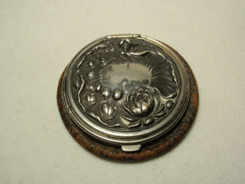 Antique Leather & Repousse Metal Compact Top Coin Purse