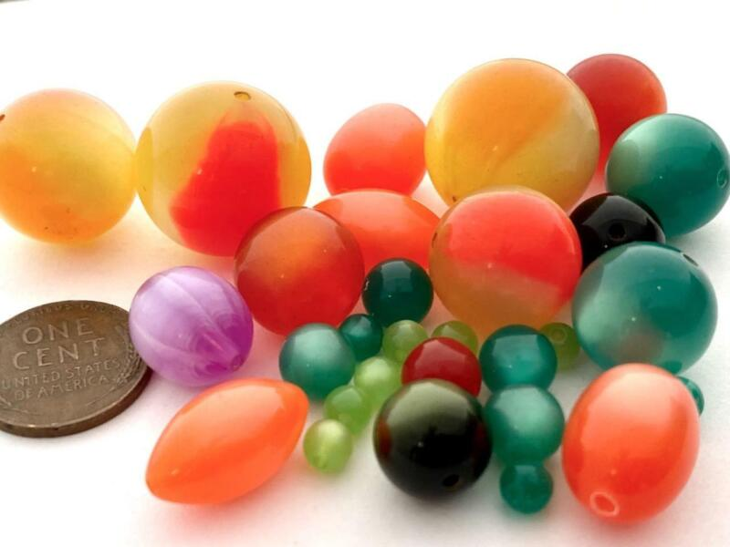 Vintage Lucite Moonglow Beads Mix 30