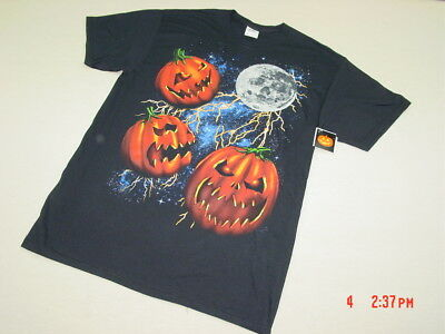 NWT Mens Black Halloween Themed T Shirt Angry Mean Pumpkins Moon Colorful - Black Pumpkins Halloween