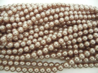 (Czech Round Glass Imitation loose Pearls, Light Brown nacre pearl color)