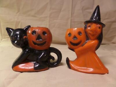 Vintage Rosbro Plastic Halloween Decorations Witch and Cat - Vintage Halloween Decorations Plastic