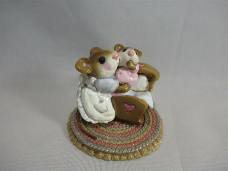 Wee Forest Folk Beddy Bye - Pink Baby and Mom in Blue Dress - Cute WFF!
