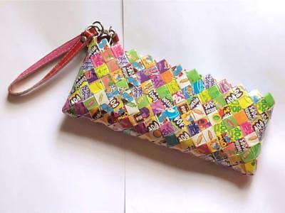 Nahui Ollin Wristlet Woven Candy Wrapper Clutch  Purse Wallet Pink Bubble Gum