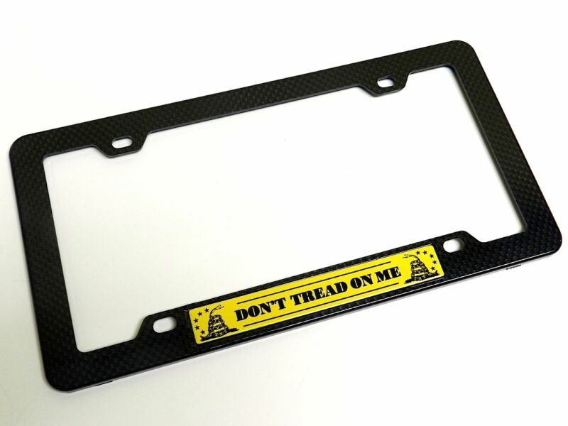 DON'T TREAD ON ME EMBLEM LICENSE PLATE FRAME CARBON FIBER YELLOW GADSDEN FLAG