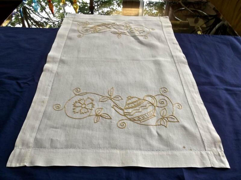 Antique Chic Linen Tea Cloth or Runner Hand Embroidered Yellow Teapot & Cup