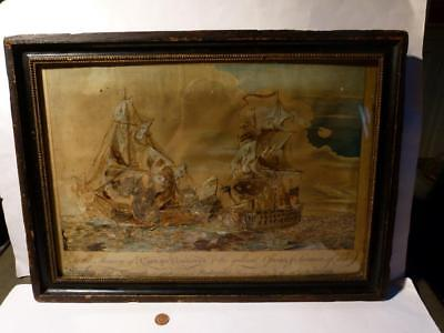 Antique 1758 Ship Monmouth   Foudroyant Battle Real Bird Feathers Painting