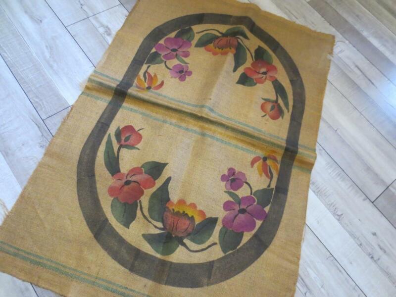 Antique Hearthside Rug Floral Printed Hooked Rug Pattern on Burlap